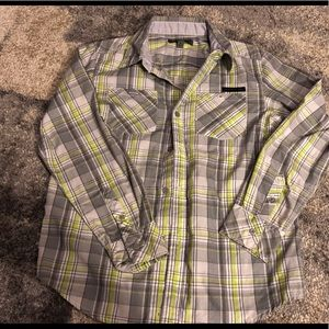 DKNY button down plaid shirt